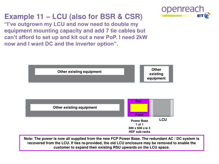 Example 11 – LCU (also for BSR & CSR)