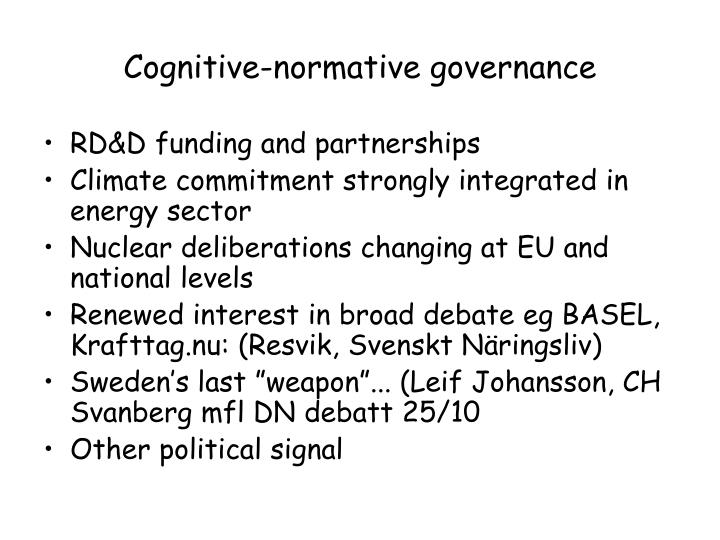 Cognitive-normative governance