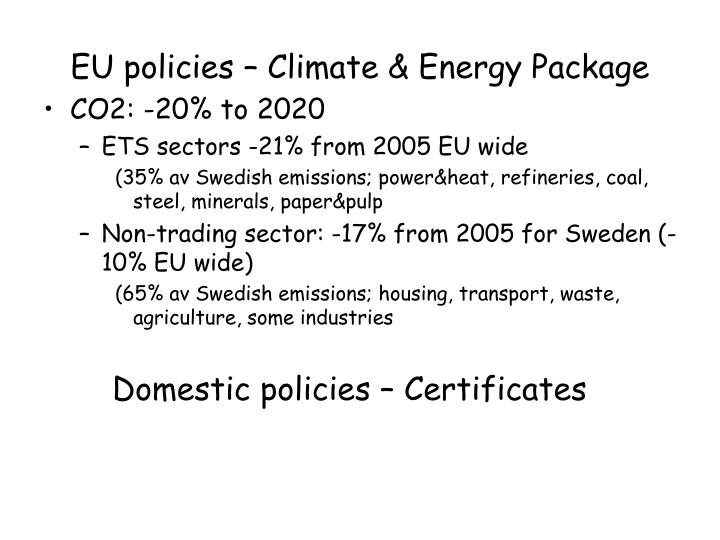 EU policies – Climate & Energy Package