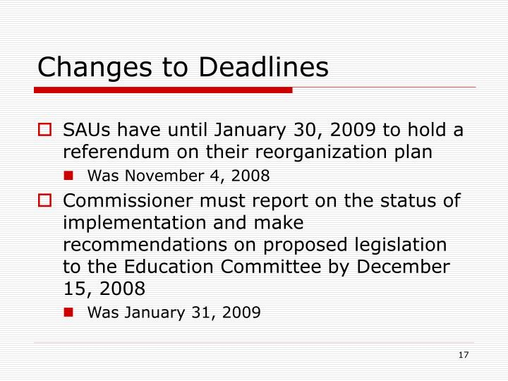 Changes to Deadlines