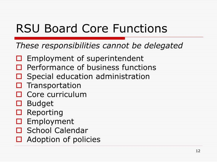 RSU Board Core Functions