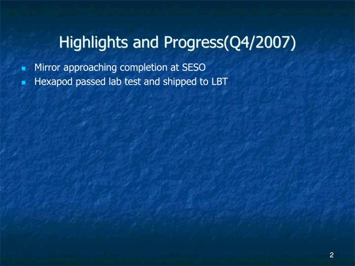 Highlights and Progress(Q4/2007)