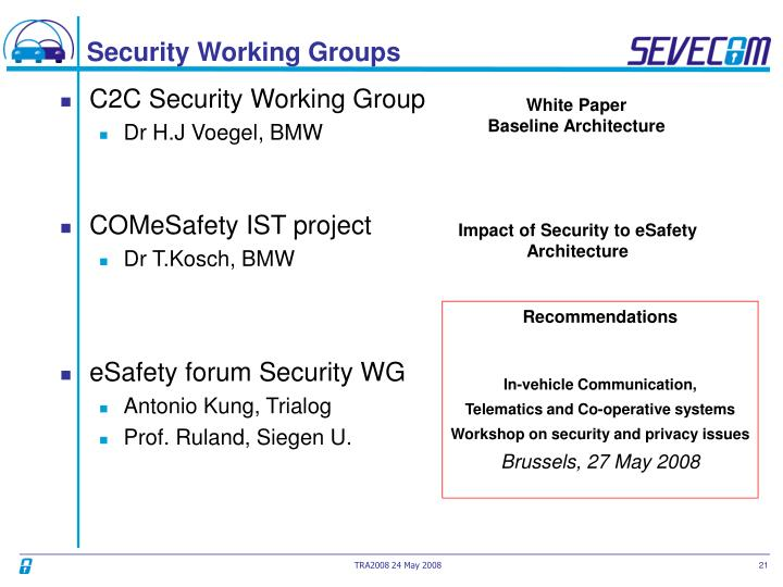Security Working Groups