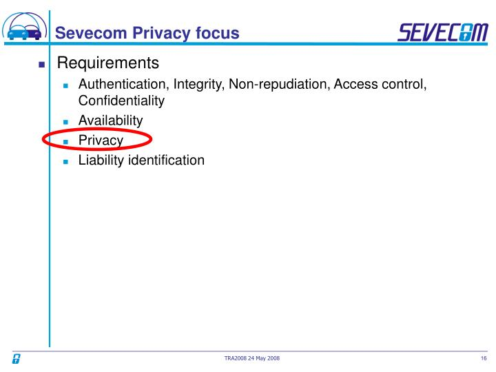 Sevecom Privacy focus