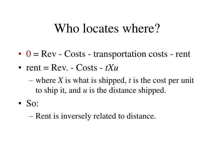 Who locates where?