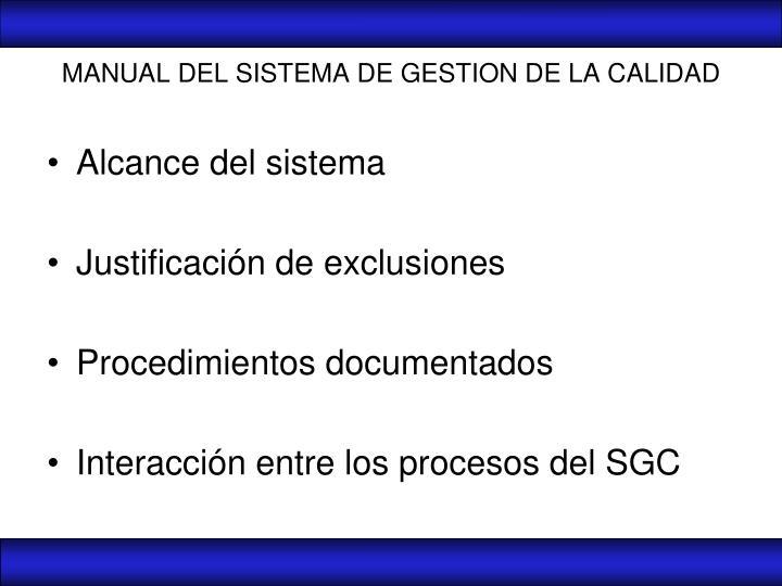 MANUAL DEL SISTEMA DE GESTION DE LA CALIDAD