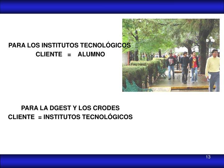 PARA LOS INSTITUTOS TECNOLÓGICOS