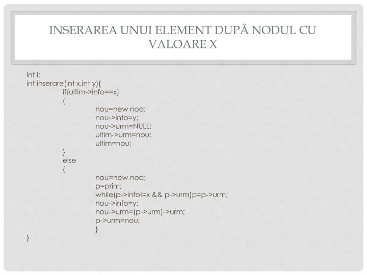 Inserarea unui element dupĂ nodul cu valoare x