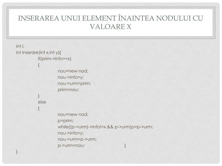 Inserarea unui element Înaintea nodului cu valoare x