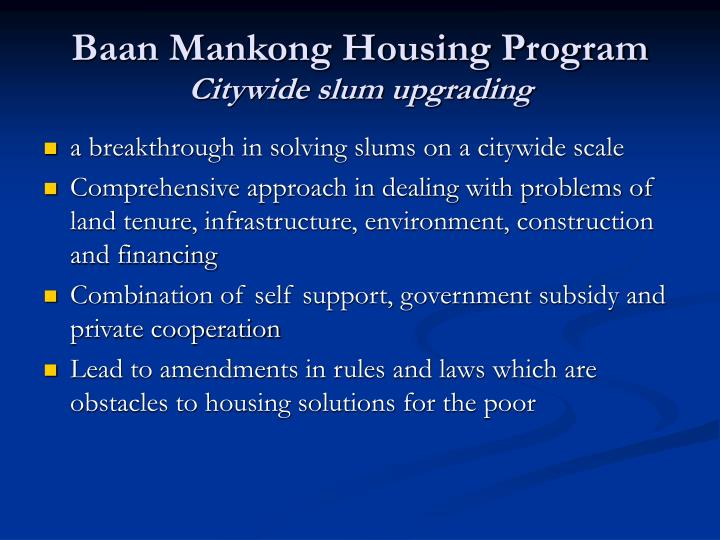 Baan Mankong Housing Program