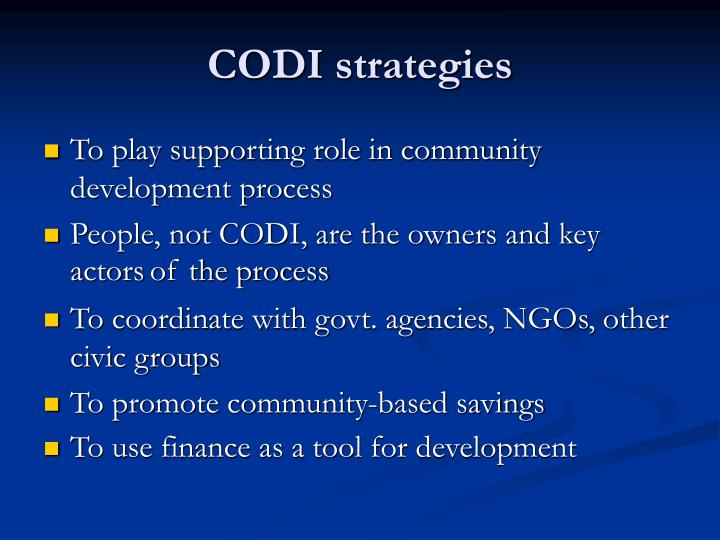 CODI strategies