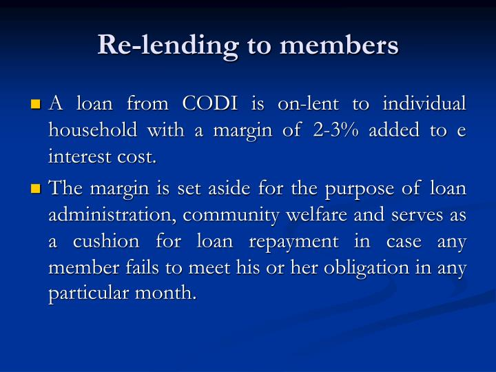 Re-lending to members