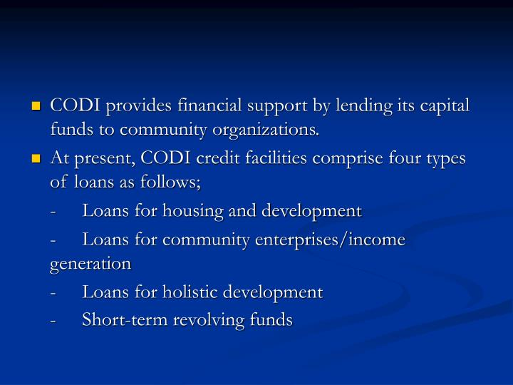 CODI provides financial support by lending its capital funds to community organizations.