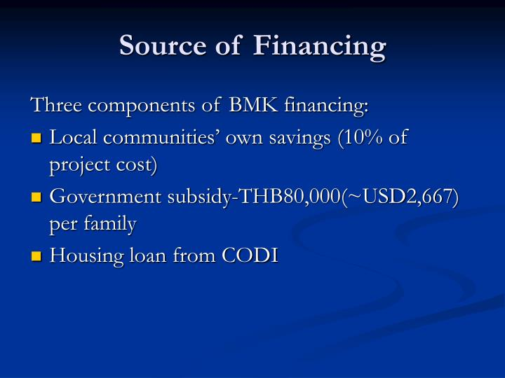 Source of Financing