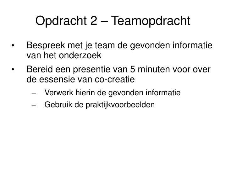 Opdracht 2 – Teamopdracht
