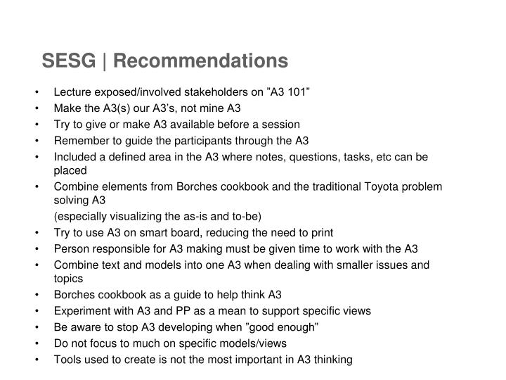 SESG | Recommendations