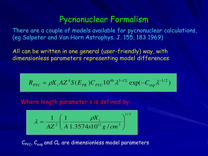 Pycnonuclear Formalism
