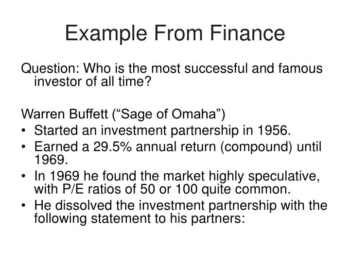 Example From Finance