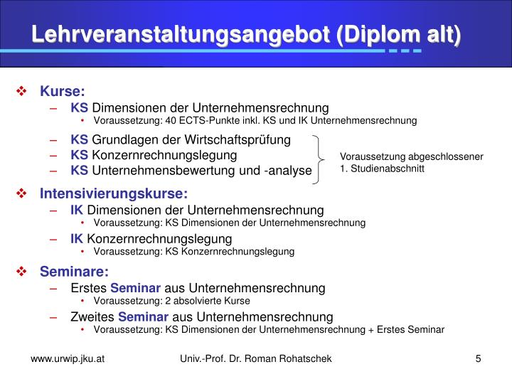 Lehrveranstaltungsangebot (Diplom alt)