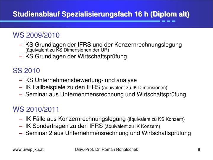 Studienablauf Spezialisierungsfach 16 h (Diplom alt)