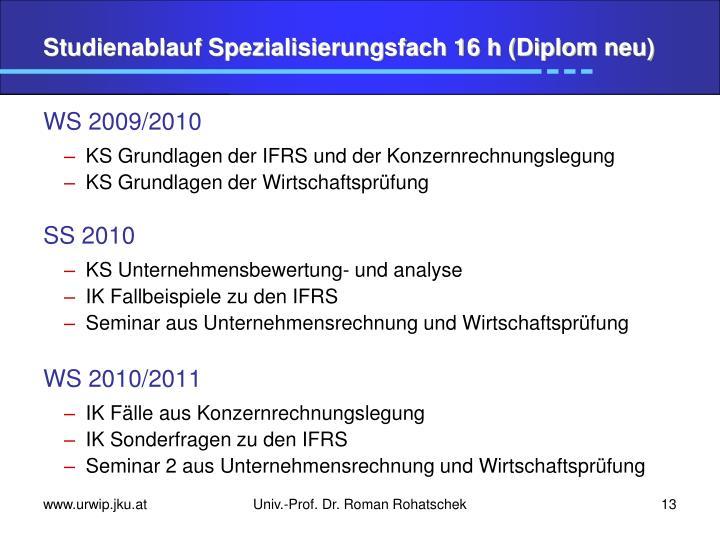 Studienablauf Spezialisierungsfach 16 h (Diplom neu)
