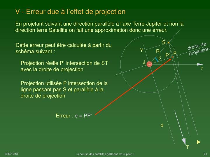 V - Erreur due à l'effet de projection