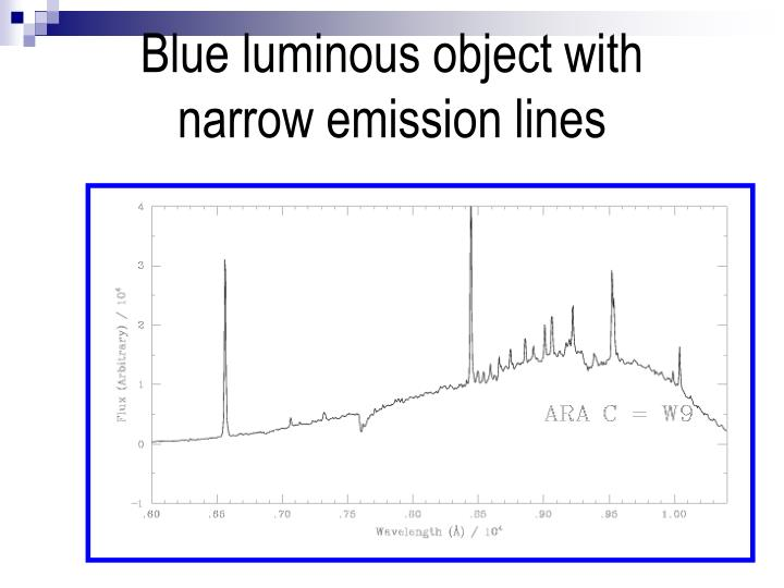 Blue luminous object with narrow emission lines