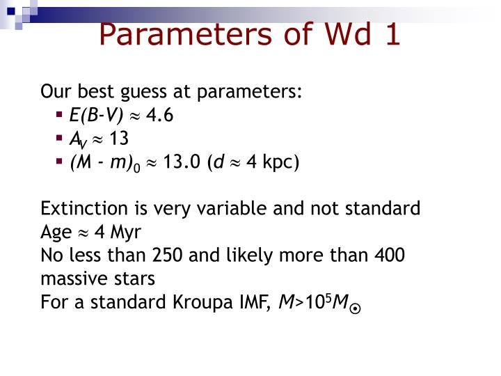 Parameters of Wd 1