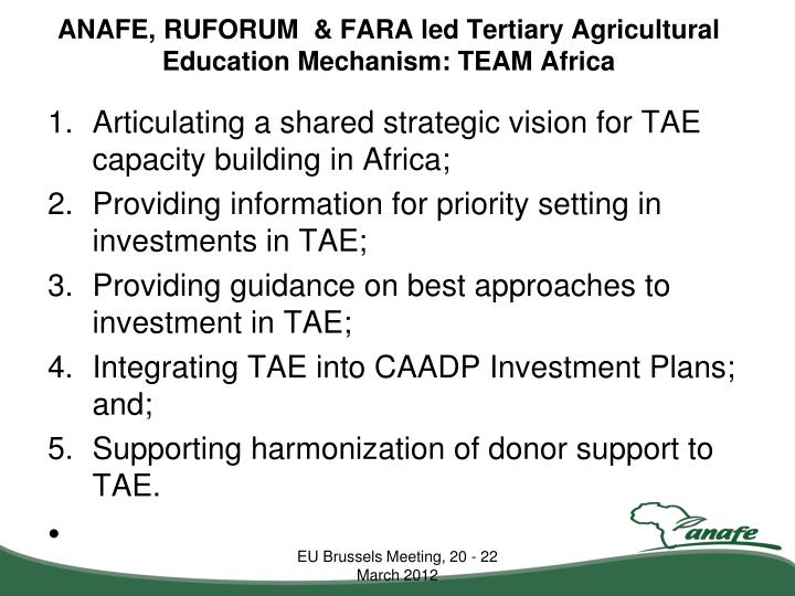 ANAFE, RUFORUM  & FARA led Tertiary Agricultural Education Mechanism: TEAM Africa