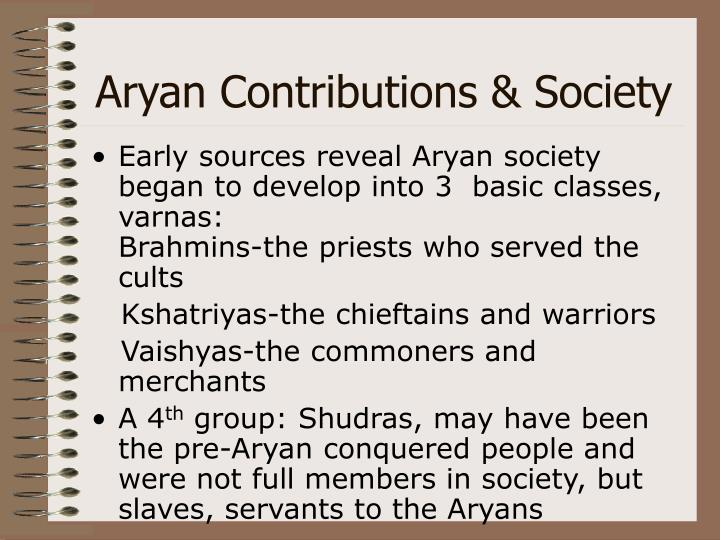 Aryan Contributions & Society