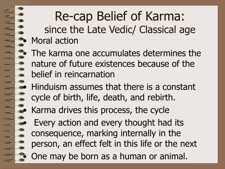 Re-cap Belief of Karma: