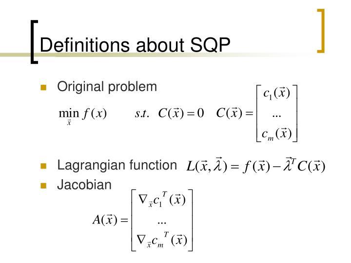 Definitions about SQP