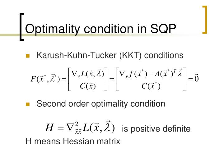 Optimality condition in SQP