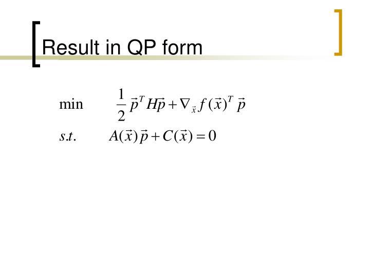 Result in QP form