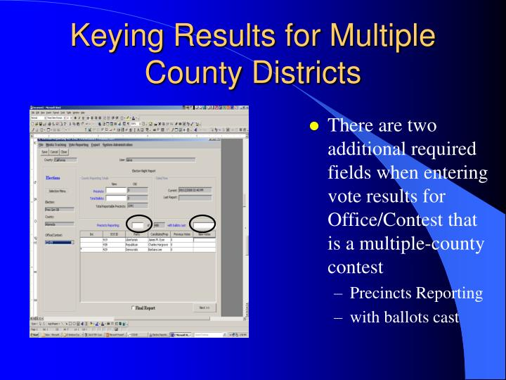 There are two additional required fields when entering vote results for Office/Contest that is a multiple-county contest