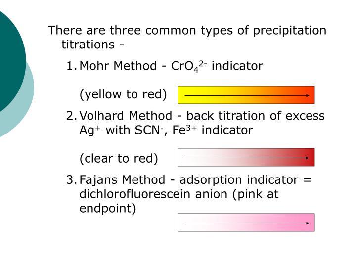 precipitation titration mohr method In a precipitation titration ag 2 cro 4 will designate the end of the titration this is known as the mohr method of chloride determination.
