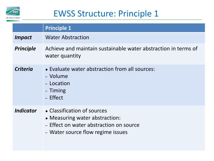 EWSS Structure: Principle 1