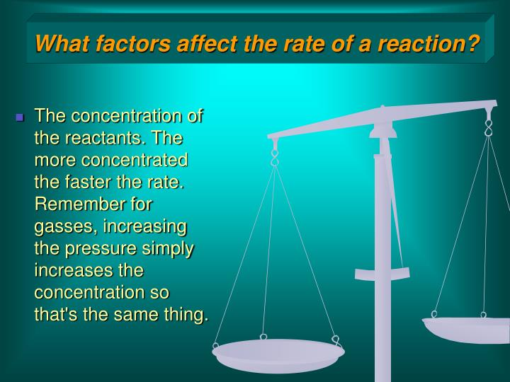 What factors affect the rate of a reaction?