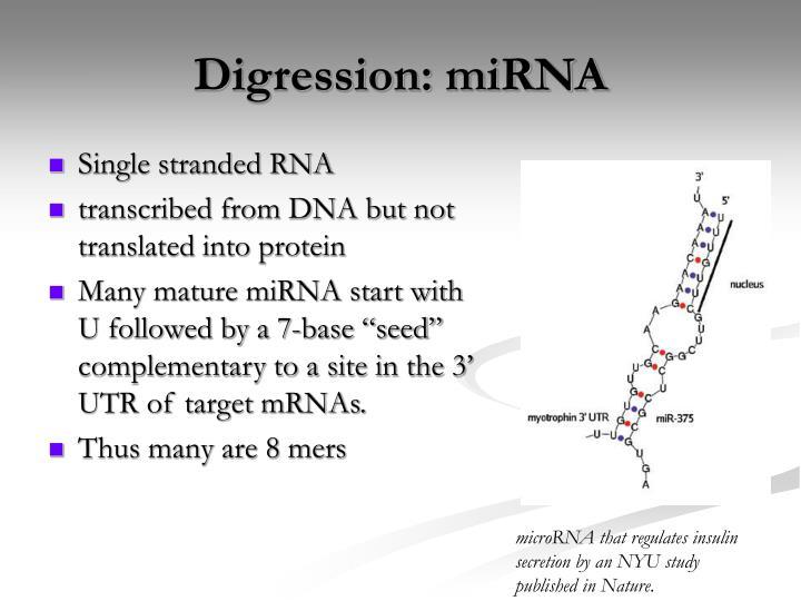 Digression: miRNA