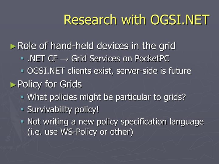Research with OGSI.NET