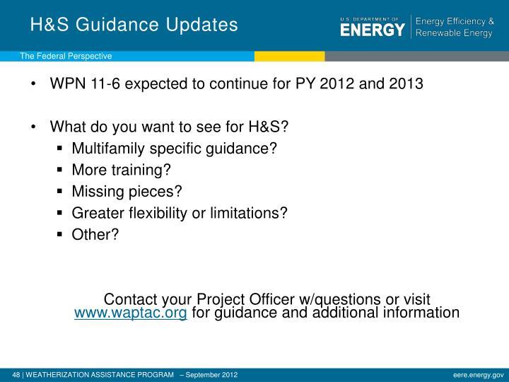 H&S Guidance Updates