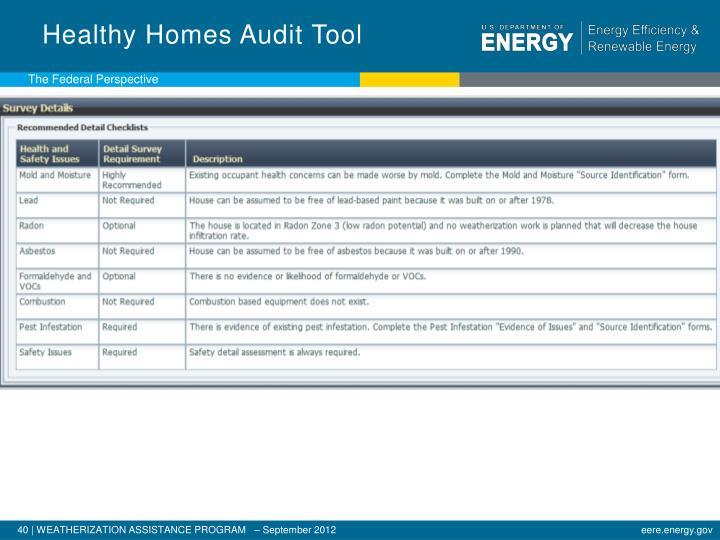 Healthy Homes Audit Tool