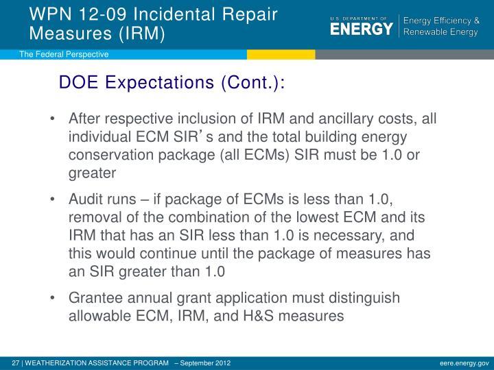 WPN 12-09 Incidental Repair Measures (IRM)