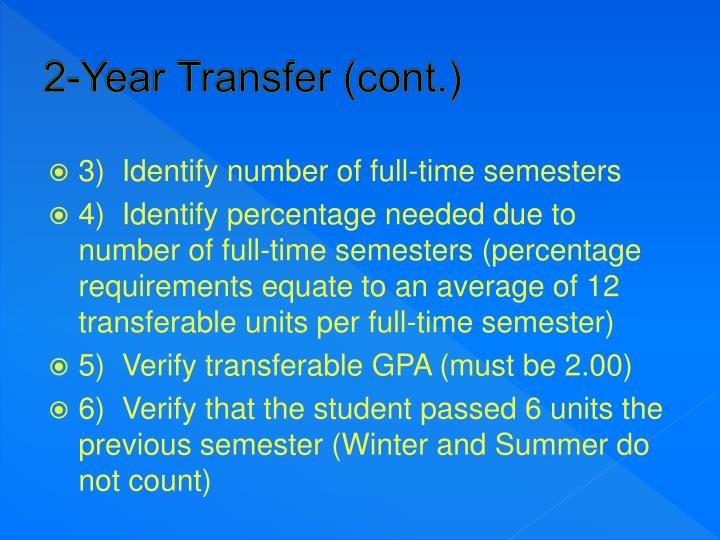 2-Year Transfer (cont.)