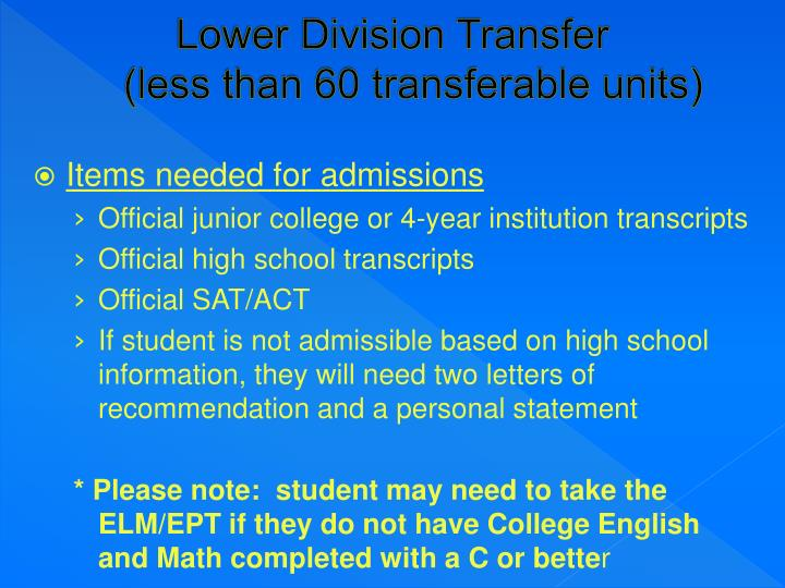 Lower Division Transfer