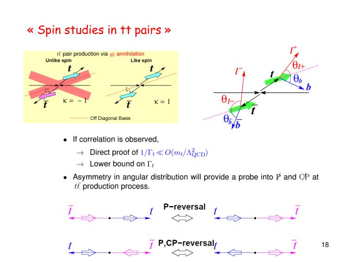 « Spin studies in tt pairs »