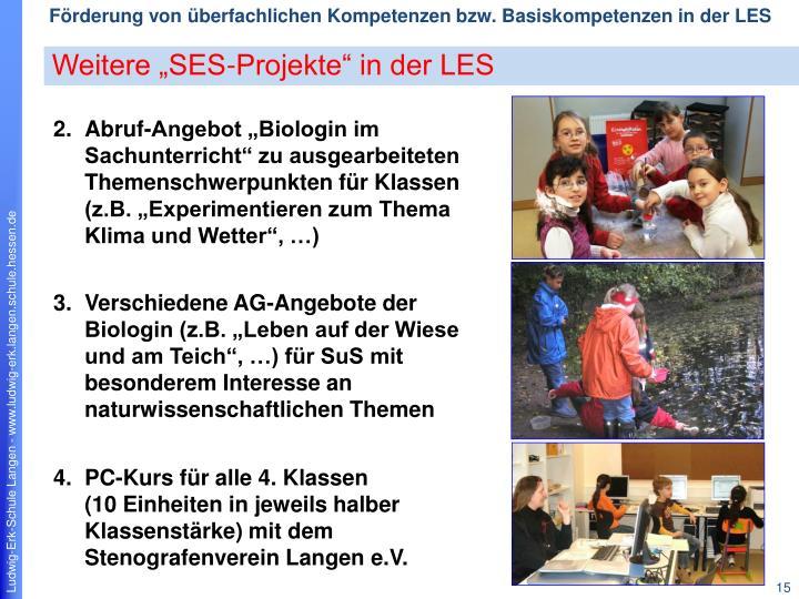 "Weitere ""SES-Projekte"" in der LES"