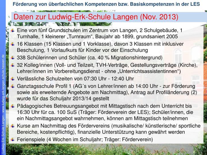 Daten zur Ludwig-Erk-Schule Langen (Nov. 2013)