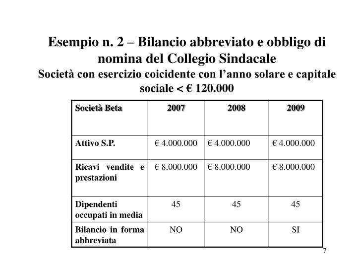 Esempio n. 2 – Bilancio abbreviato e obbligo di nomina del Collegio Sindacale