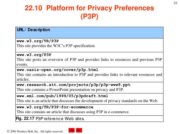 22.10  Platform for Privacy Preferences (P3P)